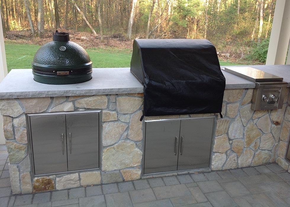 distinctive stonework - outdoor kitchen